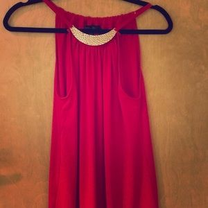 Cute gold plated Necklace lined tank red size M